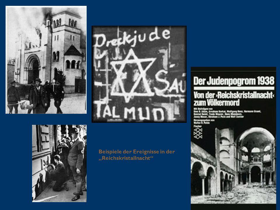 """Beispiele der Ereignisse in der """"Reichskristallnacht"""""""