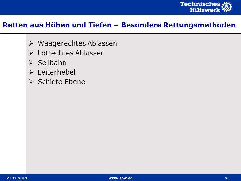 21.11.2014www.thw.de33 Seilbahn – Verankern des Tragseils mit Erdankern 1.