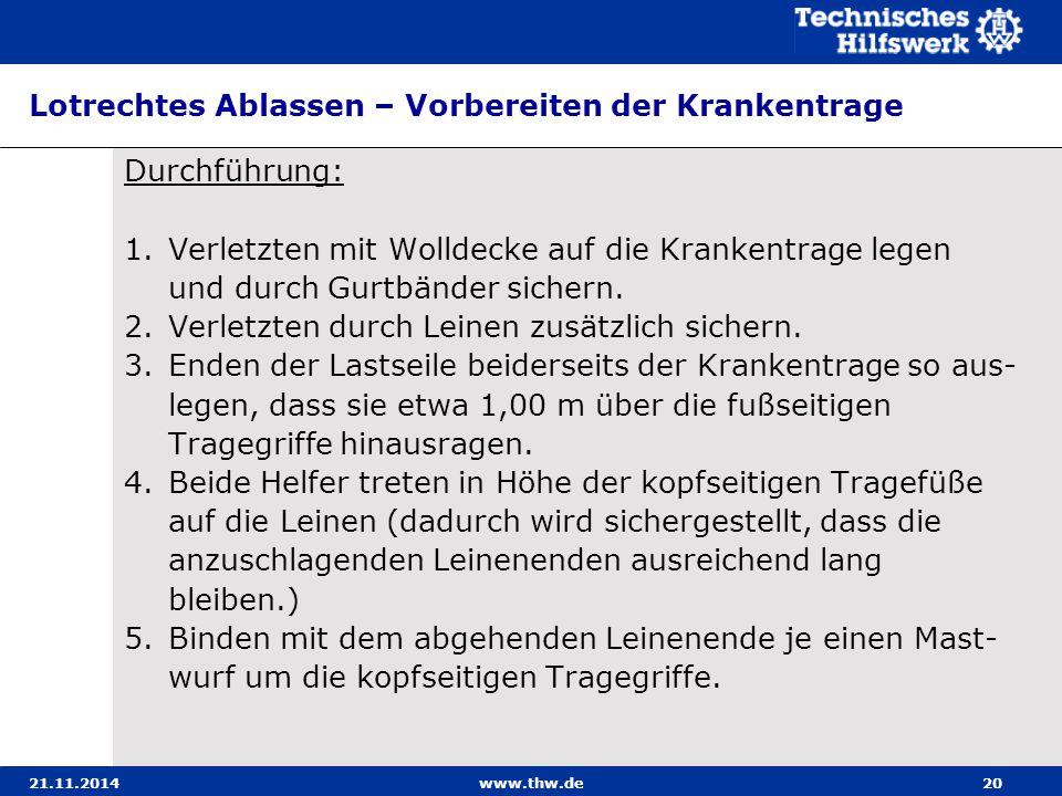 21.11.2014www.thw.de20 Lotrechtes Ablassen – Vorbereiten der Krankentrage Durchführung: 1.Verletzten mit Wolldecke auf die Krankentrage legen und durc
