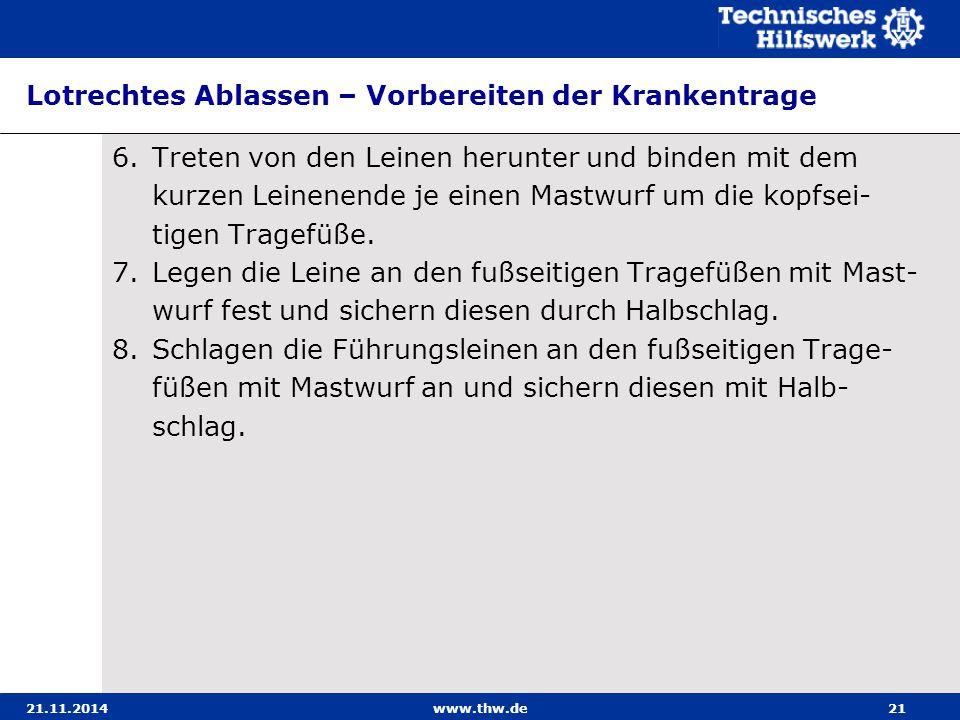 21.11.2014www.thw.de21 Lotrechtes Ablassen – Vorbereiten der Krankentrage 6.Treten von den Leinen herunter und binden mit dem kurzen Leinenende je ein