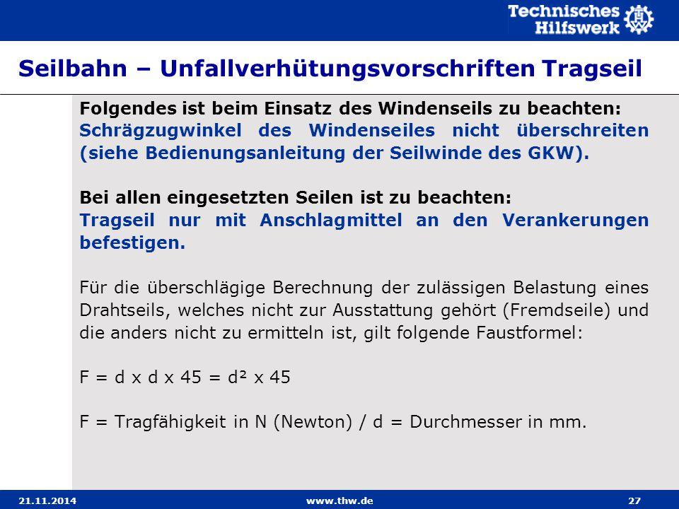 21.11.2014www.thw.de27 Seilbahn – Unfallverhütungsvorschriften Tragseil Folgendes ist beim Einsatz des Windenseils zu beachten: Schrägzugwinkel des Wi