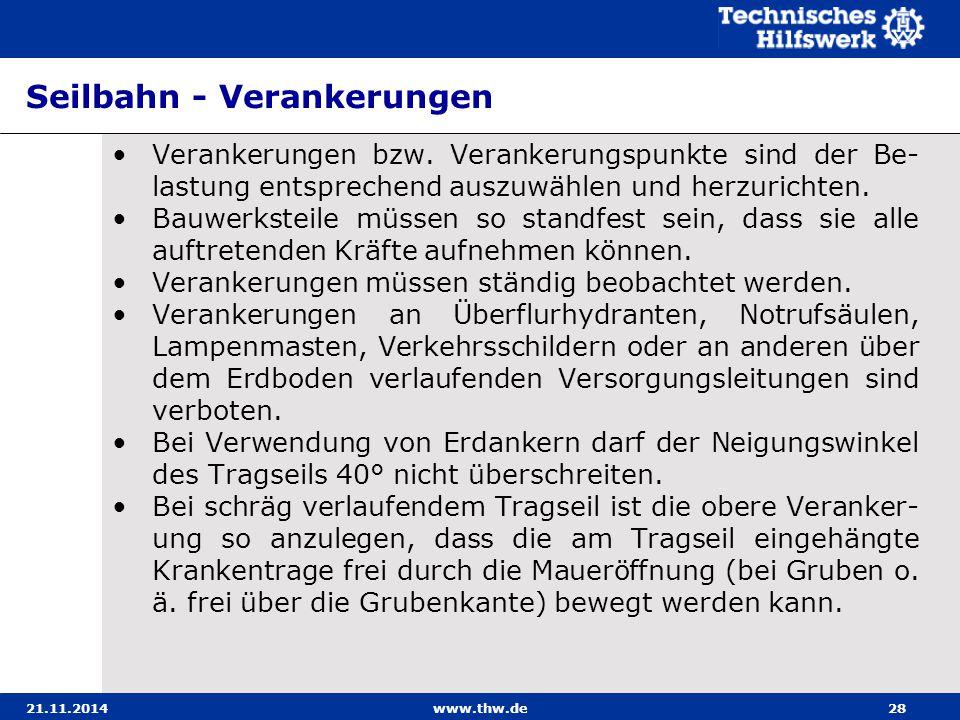 21.11.2014www.thw.de28 Seilbahn - Verankerungen Verankerungen bzw. Verankerungspunkte sind der Be- lastung entsprechend auszuwählen und herzurichten.