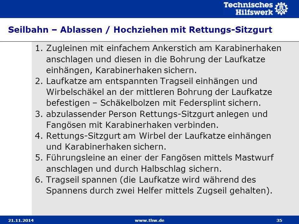 21.11.2014www.thw.de35 Seilbahn – Ablassen / Hochziehen mit Rettungs-Sitzgurt 1.Zugleinen mit einfachem Ankerstich am Karabinerhaken anschlagen und di