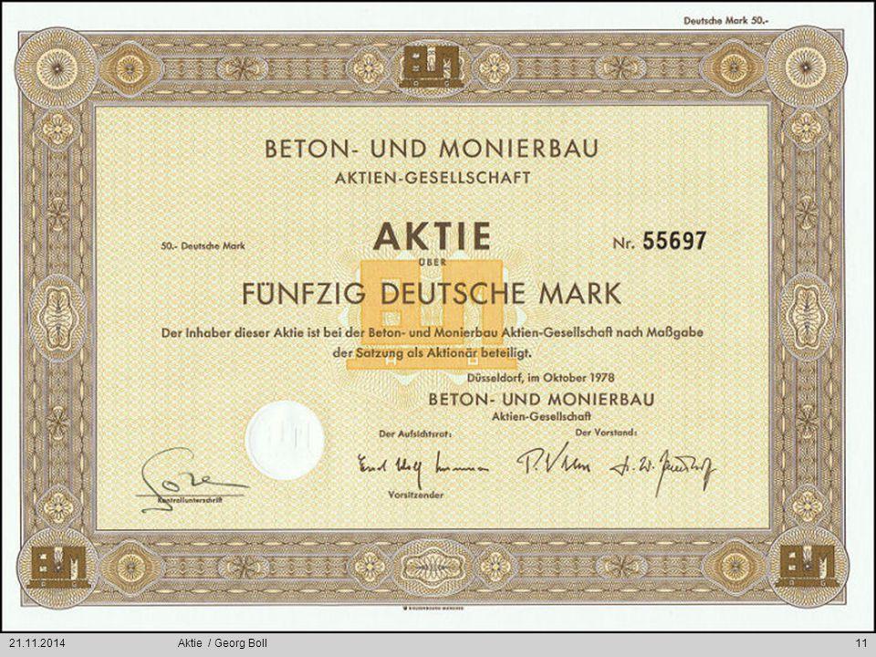 21.11.2014Aktie / Georg Boll11