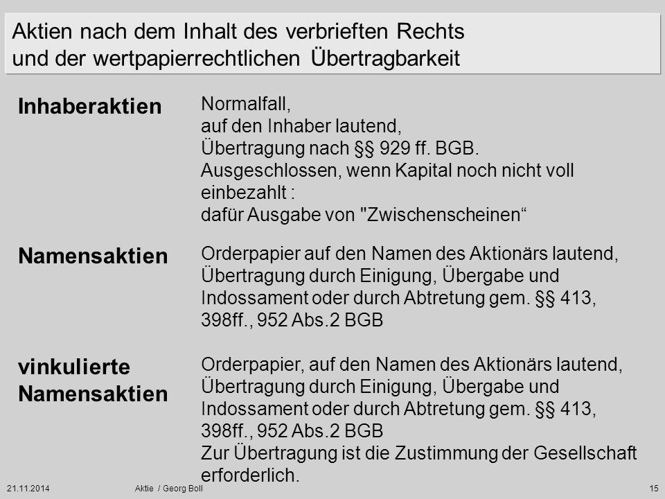 21.11.2014Aktie / Georg Boll15 Orderpapier auf den Namen des Aktionärs lautend, Übertragung durch Einigung, Übergabe und Indossament oder durch Abtret