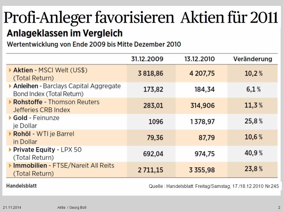 21.11.2014Aktie / Georg Boll43 Je höher die Marktkapitalisierung, also der aktuelle Börsenwert eines Unternehmens, umso geringer die Kursschwankungen.