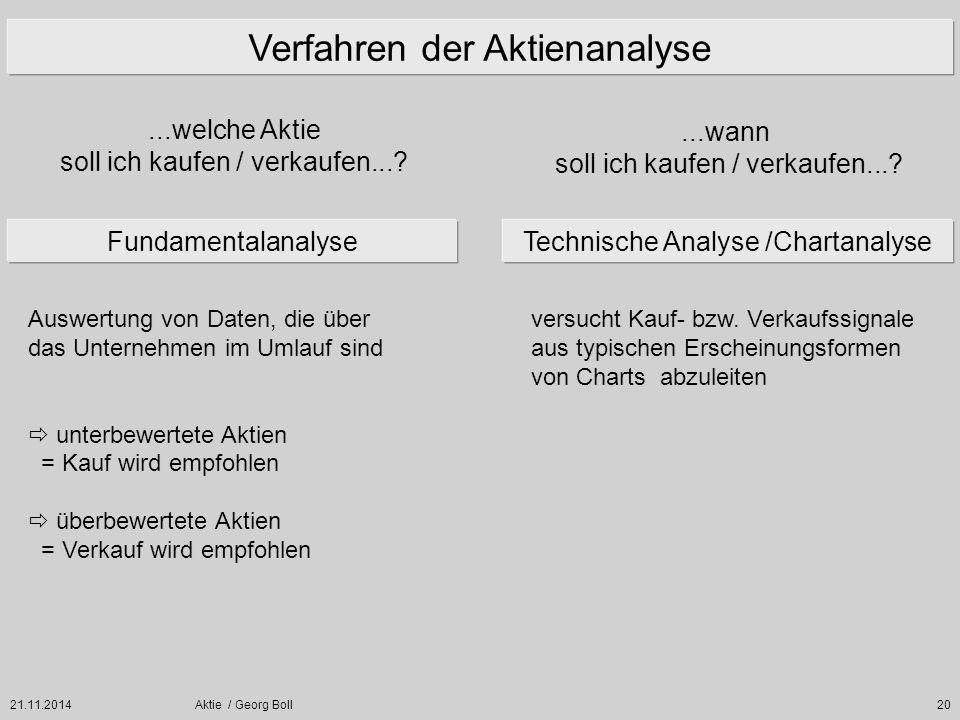 21.11.2014Aktie / Georg Boll20 Verfahren der Aktienanalyse FundamentalanalyseTechnische Analyse /Chartanalyse...welche Aktie soll ich kaufen / verkauf