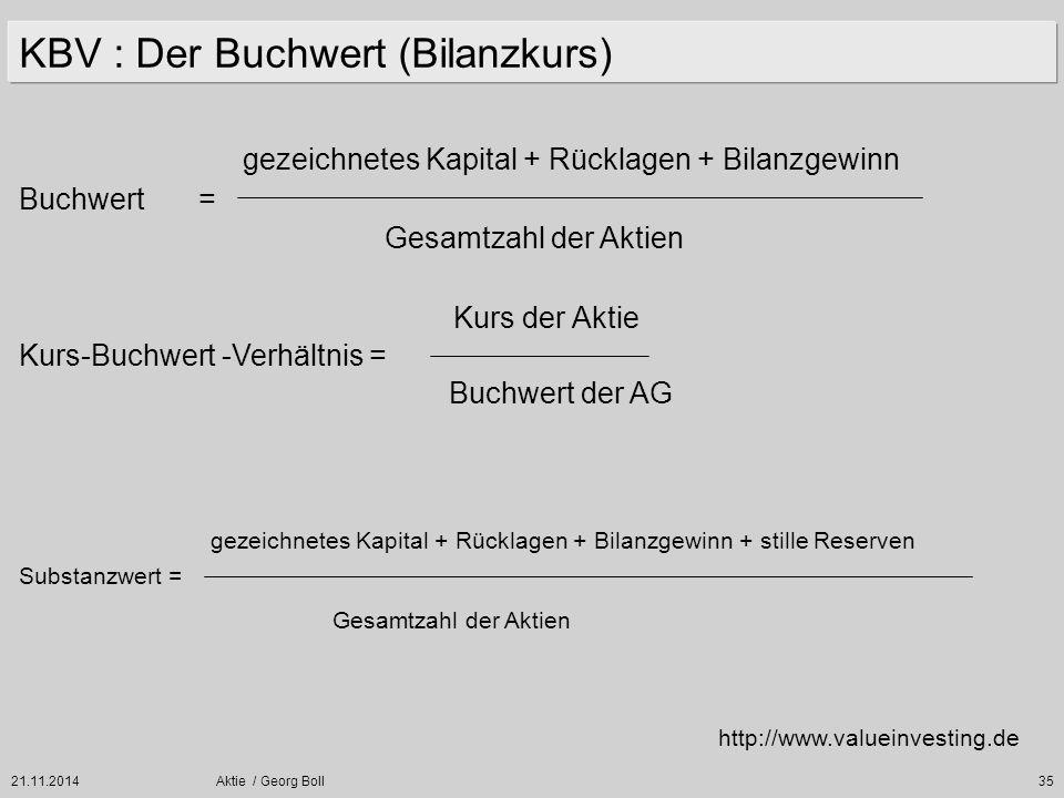 21.11.2014Aktie / Georg Boll35 KBV : Der Buchwert (Bilanzkurs) http://www.valueinvesting.de gezeichnetes Kapital + Rücklagen + Bilanzgewinn Gesamtzahl