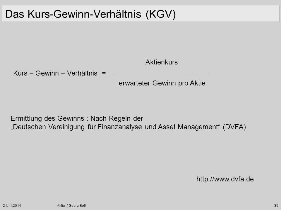 21.11.2014Aktie / Georg Boll39 Das Kurs-Gewinn-Verhältnis (KGV) Kurs – Gewinn – Verhältnis = Aktienkurs erwarteter Gewinn pro Aktie Ermittlung des Gew