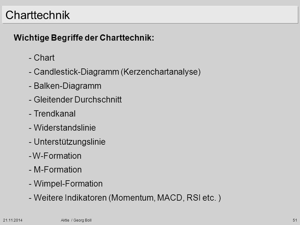 21.11.2014Aktie / Georg Boll51 Wichtige Begriffe der Charttechnik: - Chart - Candlestick-Diagramm (Kerzenchartanalyse) - Balken-Diagramm - Gleitender