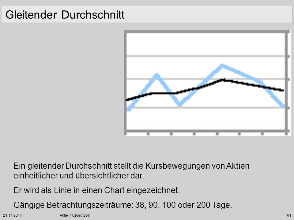 21.11.2014Aktie / Georg Boll61 Gleitender Durchschnitt Ein gleitender Durchschnitt stellt die Kursbewegungen von Aktien einheitlicher und übersichtlic