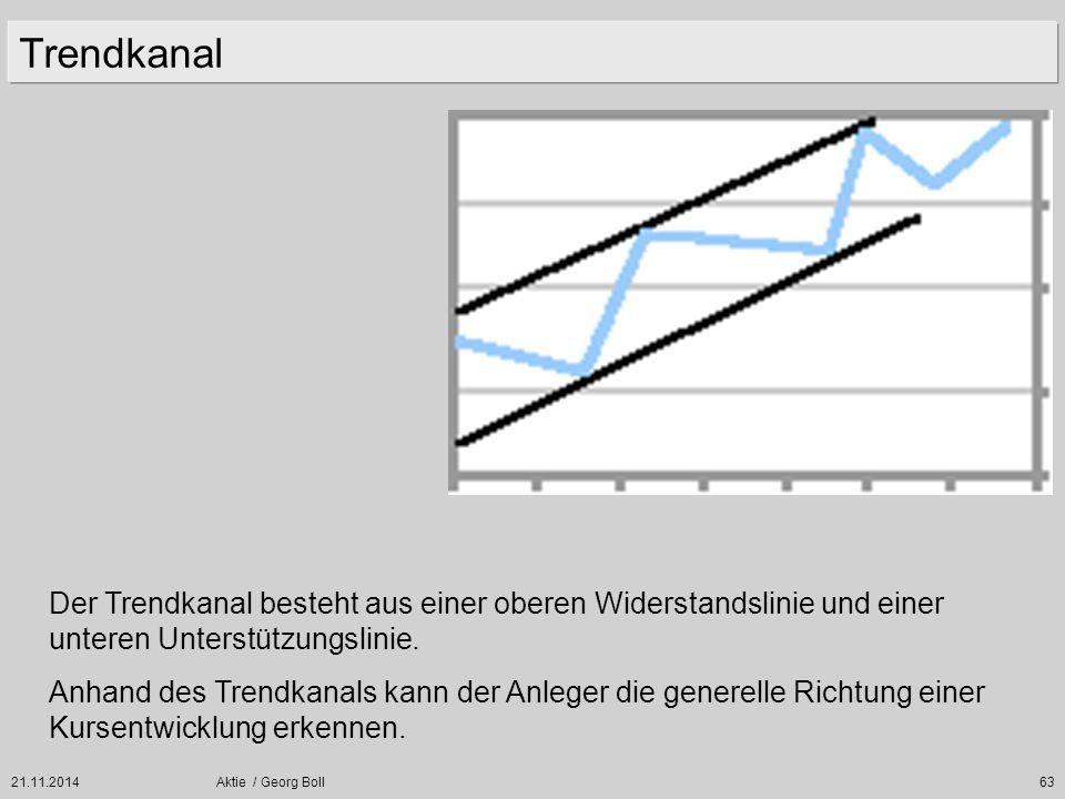 21.11.2014Aktie / Georg Boll63 Trendkanal Der Trendkanal besteht aus einer oberen Widerstandslinie und einer unteren Unterstützungslinie. Anhand des T
