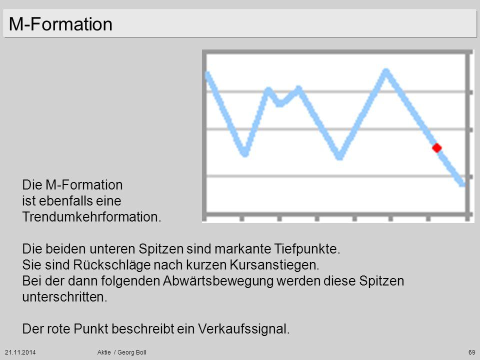 21.11.2014Aktie / Georg Boll69 M-Formation Die M-Formation ist ebenfalls eine Trendumkehrformation. Die beiden unteren Spitzen sind markante Tiefpunkt