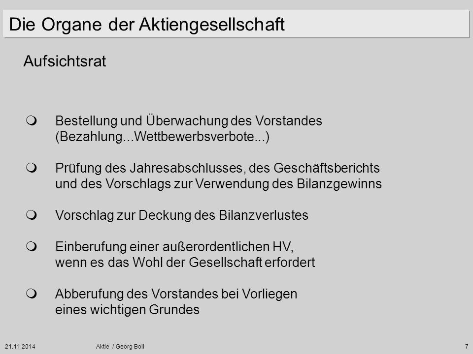 21.11.2014Aktie / Georg Boll38 Verhältnis von Aktienkurs zu Unternehmensgewinnen.