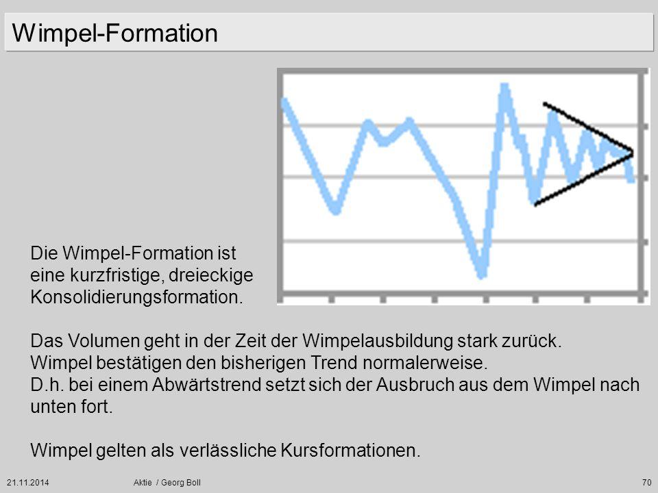 21.11.2014Aktie / Georg Boll70 Wimpel-Formation Die Wimpel-Formation ist eine kurzfristige, dreieckige Konsolidierungsformation. Das Volumen geht in d