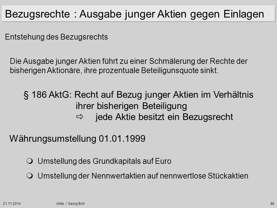 21.11.2014Aktie / Georg Boll86 Bezugsrechte : Ausgabe junger Aktien gegen Einlagen Entstehung des Bezugsrechts Die Ausgabe junger Aktien führt zu eine