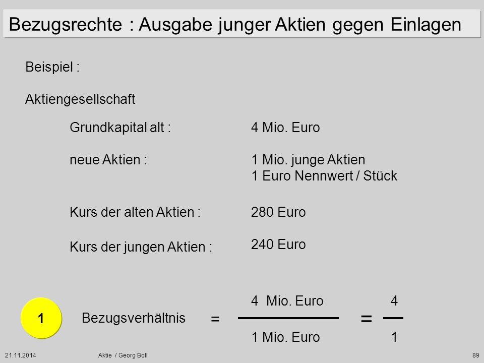 21.11.2014Aktie / Georg Boll89 Beispiel : Aktiengesellschaft Grundkapital alt :4 Mio. Euro neue Aktien :1 Mio. junge Aktien 1 Euro Nennwert / Stück Ku