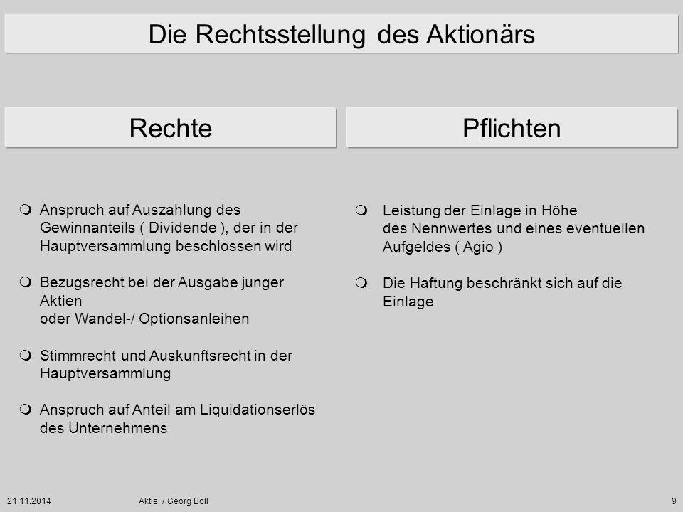 21.11.2014Aktie / Georg Boll9 Die Rechtsstellung des Aktionärs  Anspruch auf Auszahlung des Gewinnanteils ( Dividende ), der in der Hauptversammlung