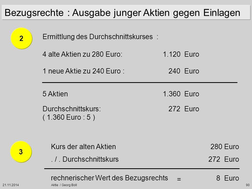 21.11.2014Aktie / Georg Boll90 Ermittlung des Durchschnittskurses : 4 alte Aktien zu 280 Euro:1.120 Euro 1 neue Aktie zu 240 Euro : 240 Euro 5 Aktien1