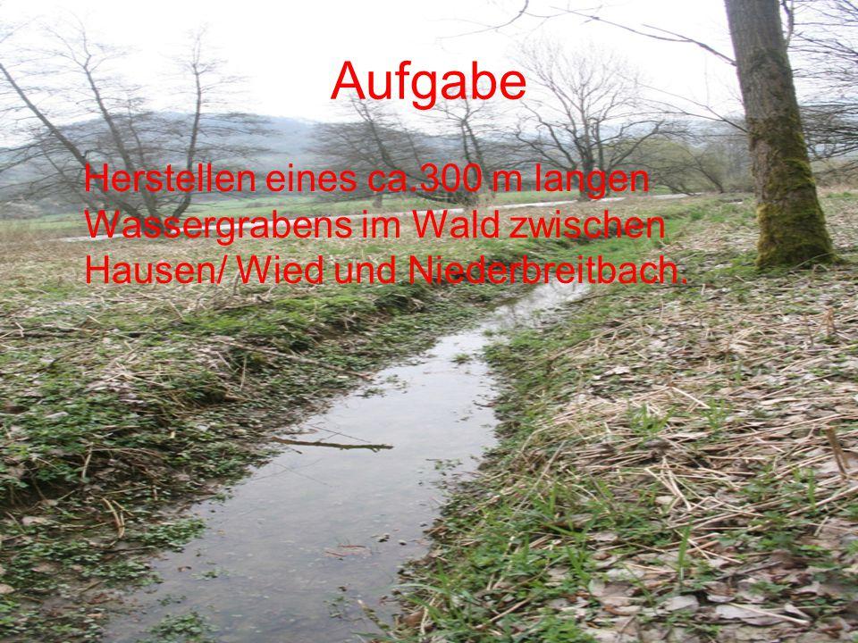 Aufgabe Herstellen eines ca.300 m langen Wassergrabens im Wald zwischen Hausen/ Wied und Niederbreitbach.