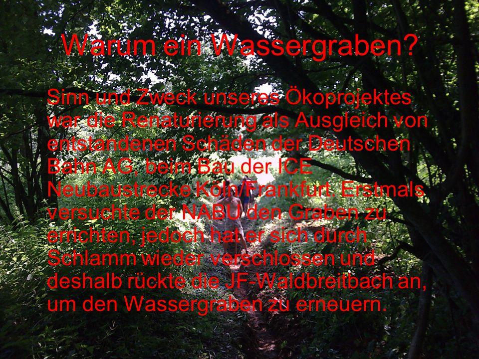 Warum ein Wassergraben? Sinn und Zweck unseres Ökoprojektes war die Renaturierung als Ausgleich von entstandenen Schäden der Deutschen Bahn AG, beim B