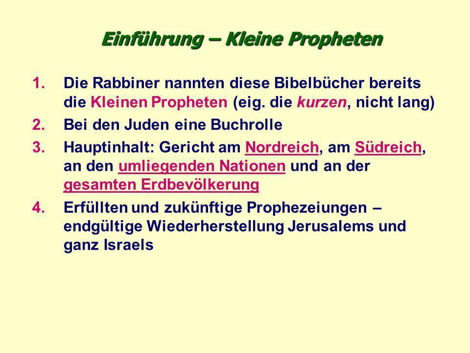 Einführung – Kleine Propheten 1.Die Rabbiner nannten diese Bibelbücher bereits die Kleinen Propheten (eig. die kurzen, nicht lang) 2.Bei den Juden ein