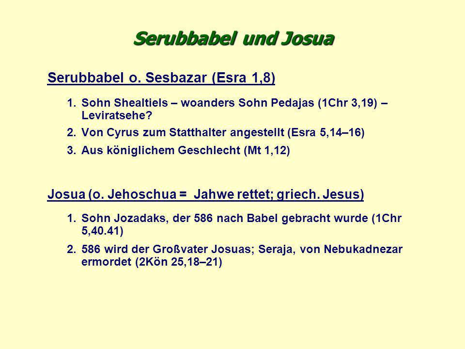 Serubbabel und Josua Serubbabel o. Sesbazar (Esra 1,8) 1.Sohn Shealtiels – woanders Sohn Pedajas (1Chr 3,19) – Leviratsehe? 2.Von Cyrus zum Statthalte