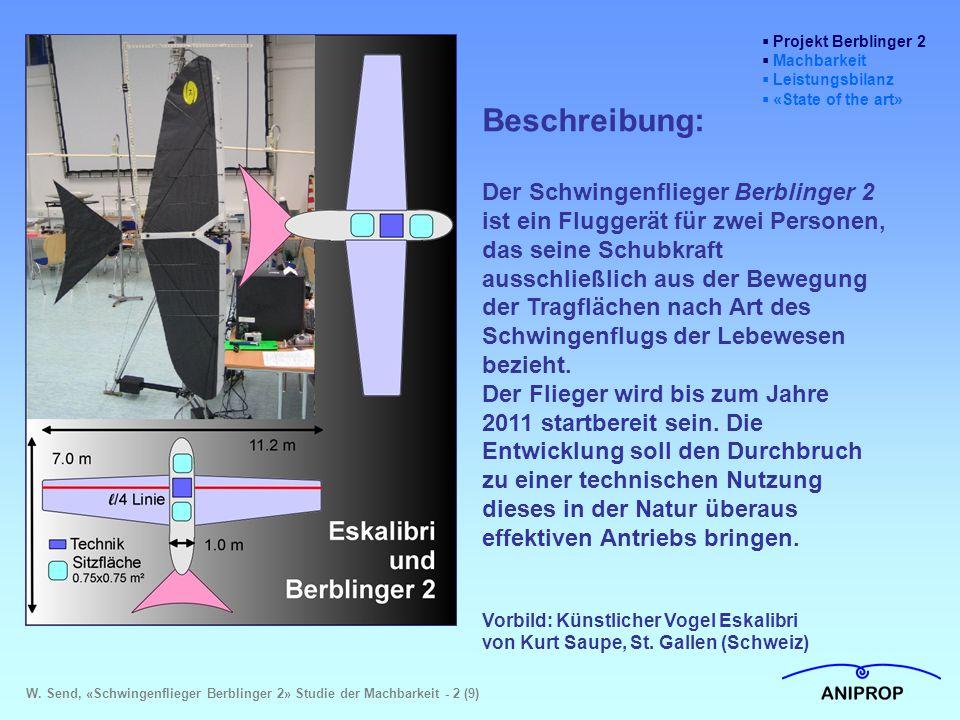  Projekt Berblinger 2  Machbarkeit  Leistungsbilanz  «State of the art» Beschreibung: Der Schwingenflieger Berblinger 2 ist ein Fluggerät für zwei