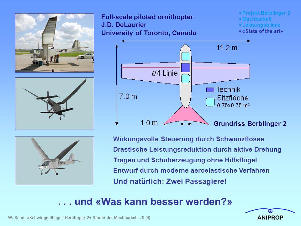  Projekt Berblinger 2  Machbarkeit  Leistungsbilanz  «State of the art»... und «Was kann besser werden?» Full-scale piloted ornithopter J.D. DeLau