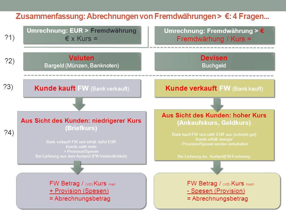 Zusammenfassung: Abrechnungen von Fremdwährungen > €: 4 Fragen... Valuten Bargeld (Münzen, Banknoten) Valuten Bargeld (Münzen, Banknoten) Devisen Buch