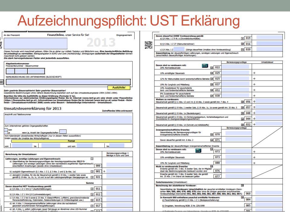 Aufzeichnungspflicht: UST Erklärung