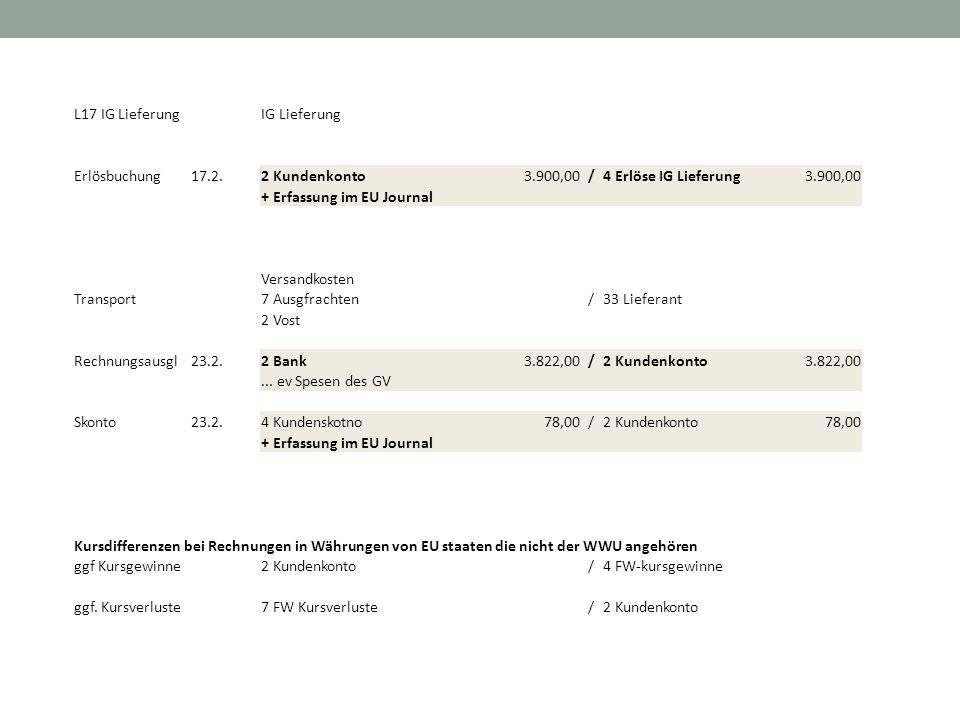 L17 IG LieferungIG Lieferung Erlösbuchung17.2.2 Kundenkonto 3.900,00/4 Erlöse IG Lieferung 3.900,00 + Erfassung im EU Journal Versandkosten Transport7