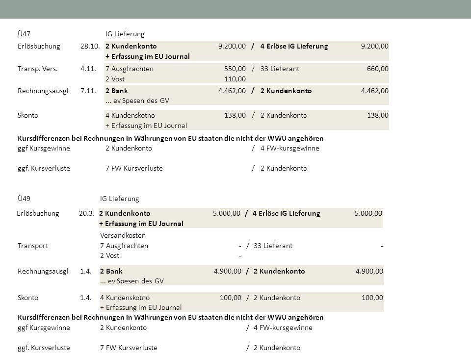 Ü47IG Lieferung Erlösbuchung28.10.2 Kundenkonto 9.200,00/4 Erlöse IG Lieferung 9.200,00 + Erfassung im EU Journal Transp. Vers.4.11.7 Ausgfrachten 550