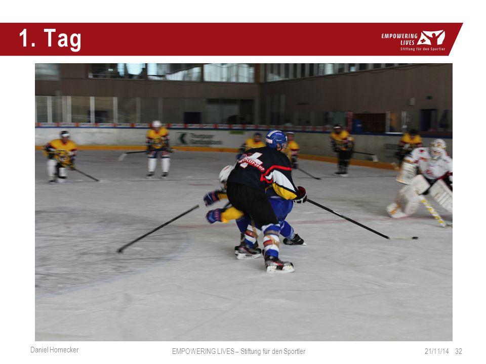 1. Tag 21/11/14 32 Daniel Hornecker EMPOWERING LIVES – Stiftung für den Sportler