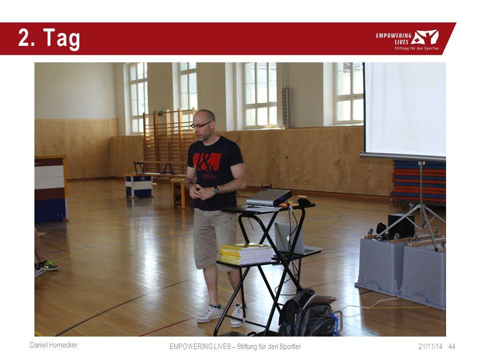 2. Tag 21/11/14 44 Daniel Hornecker EMPOWERING LIVES – Stiftung für den Sportler
