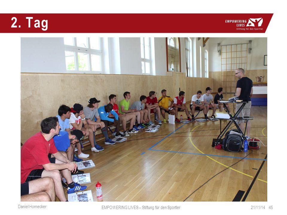 2. Tag 21/11/14 45 Daniel Hornecker EMPOWERING LIVES – Stiftung für den Sportler