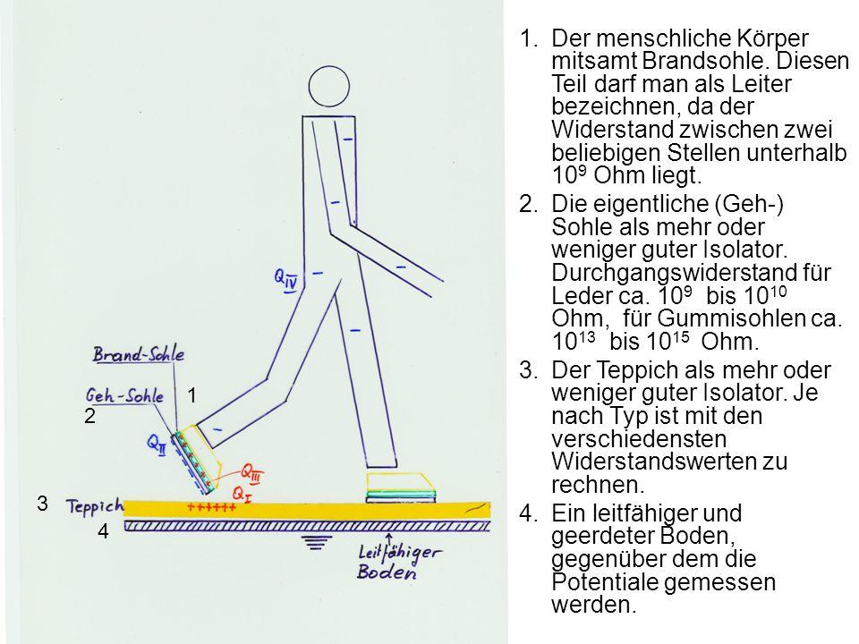 1.Der menschliche Körper mitsamt Brandsohle. Diesen Teil darf man als Leiter bezeichnen, da der Widerstand zwischen zwei beliebigen Stellen unterhalb