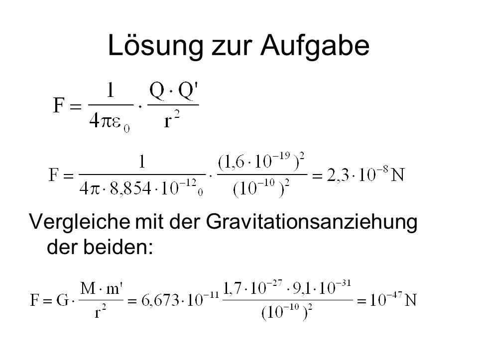 Lösung zur Aufgabe Vergleiche mit der Gravitationsanziehung der beiden: