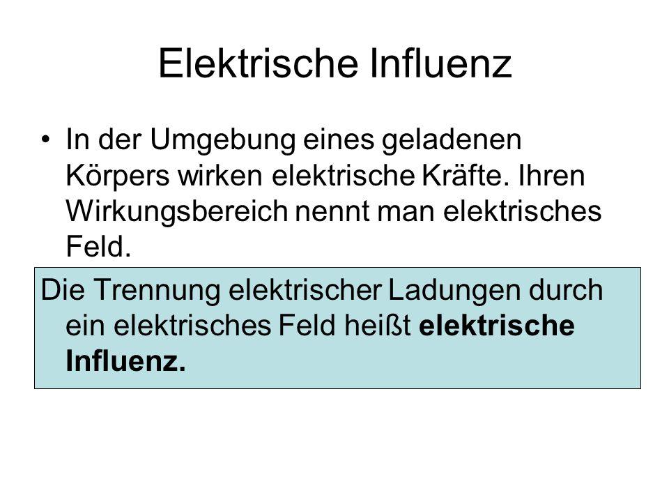 Elektrische Influenz In der Umgebung eines geladenen Körpers wirken elektrische Kräfte. Ihren Wirkungsbereich nennt man elektrisches Feld. Die Trennun