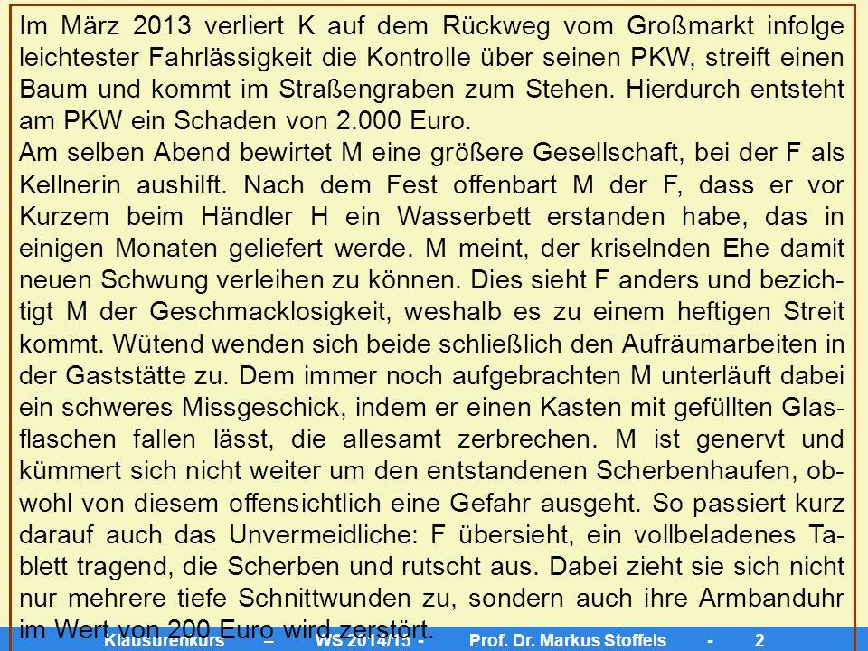 Klausurenkurs – WS 2014/15 - Prof. Dr. Markus Stoffels - 1 Klausurenkurs im Zivilrecht Sachverhalt: M und F sind verheiratet und leben im gesetzlichen