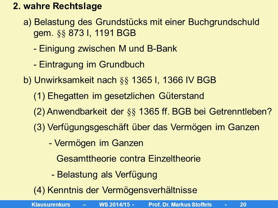 """Klausurenkurs – WS 2014/15 - Prof. Dr. Markus Stoffels - 19 Aufgabe 4 A. Anspruch F gegen B-Bank aus §§ 894, 1368 BGB auf """"Löschung der Grundschuld"""" I"""