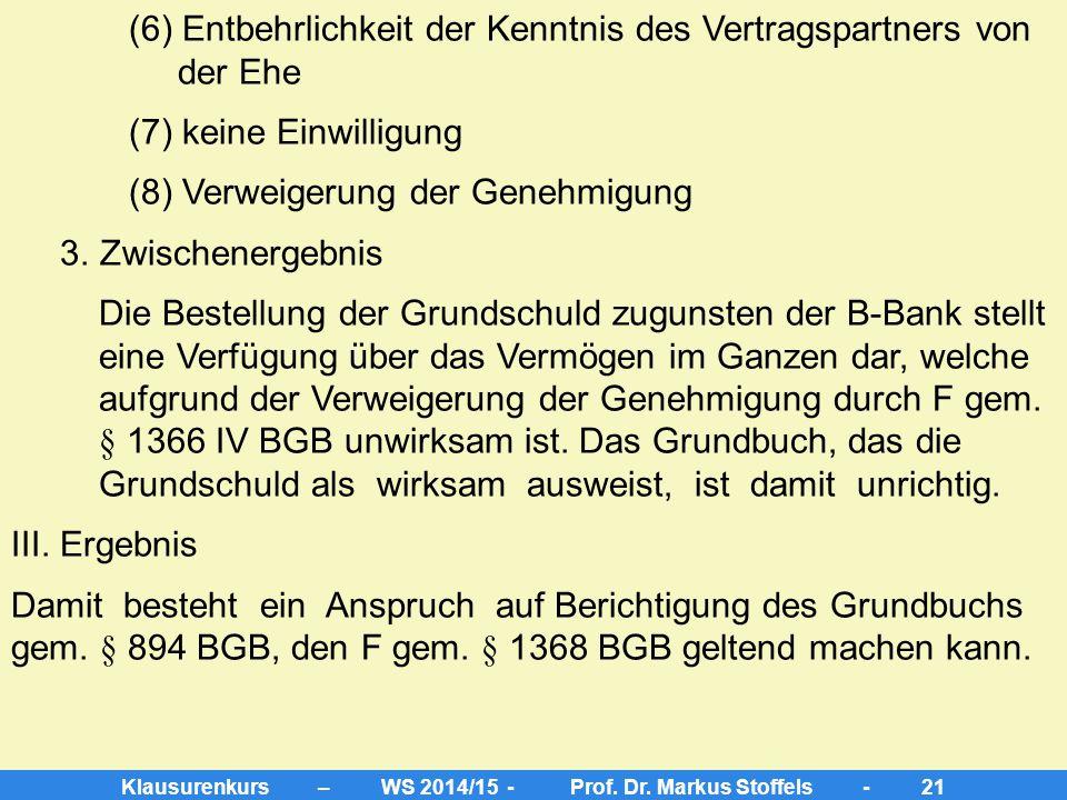 Klausurenkurs – WS 2014/15 - Prof. Dr. Markus Stoffels - 20 2. wahre Rechtslage a) Belastung des Grundstücks mit einer Buchgrundschuld gem. §§ 873 I,
