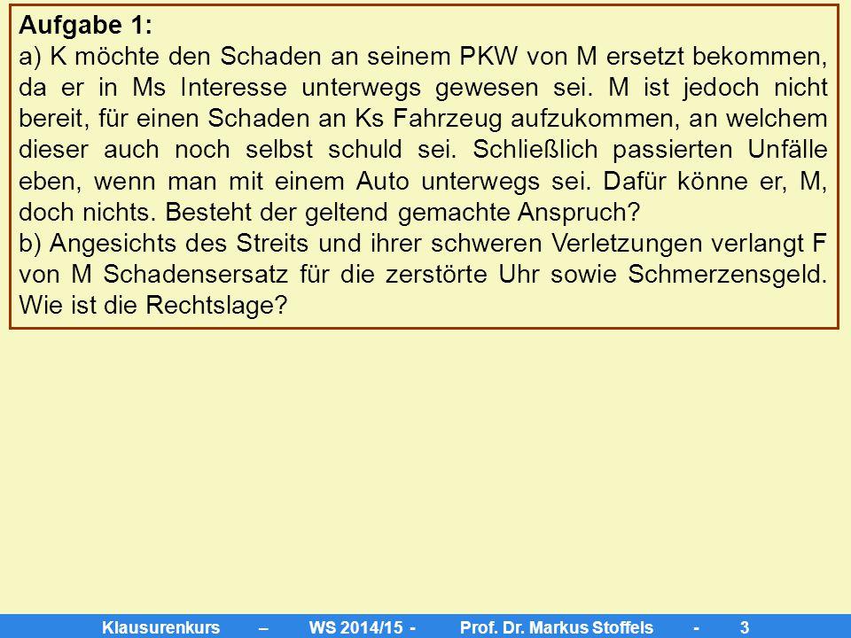 Klausurenkurs – WS 2014/15 - Prof. Dr. Markus Stoffels - 2 Im März 2013 verliert K auf dem Rückweg vom Großmarkt infolge leichtester Fahrlässigkeit di