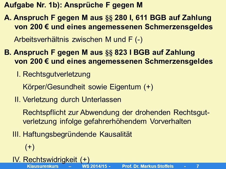 Klausurenkurs – WS 2014/15 - Prof. Dr. Markus Stoffels - 6 2. Grundsätze der beschränkten Arbeitnehmerhaftung => leichte Fahrlässigkeit, ergo keine Kü