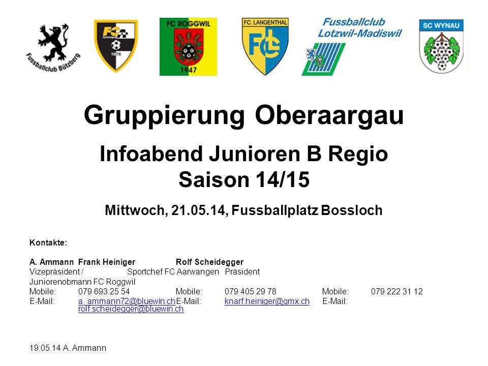 Gruppierung Oberaargau Infoabend Junioren B Regio Saison 14/15 Mittwoch, 21.05.14, Fussballplatz Bossloch Kontakte: A. AmmannFrank HeinigerRolf Scheid