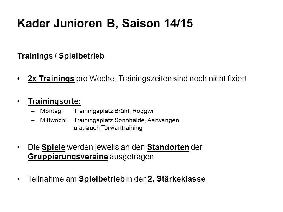 Trainings / Spielbetrieb 2x Trainings pro Woche, Trainingszeiten sind noch nicht fixiert Trainingsorte: –Montag:Trainingsplatz Brühl, Roggwil –Mittwoch:Trainingsplatz Sonnhalde, Aarwangen u.a.