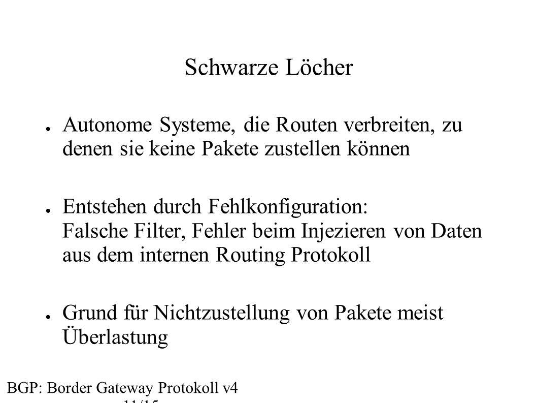 Schwarze Löcher ● Autonome Systeme, die Routen verbreiten, zu denen sie keine Pakete zustellen können ● Entstehen durch Fehlkonfiguration: Falsche Fil