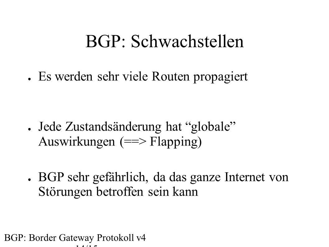 """BGP: Schwachstellen BGP: Border Gateway Protokoll v4 14/15 ● Es werden sehr viele Routen propagiert ● Jede Zustandsänderung hat """"globale"""" Auswirkungen"""