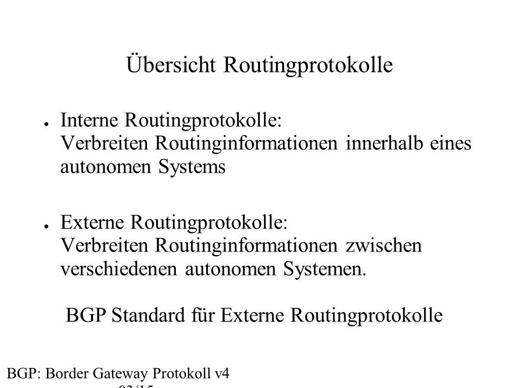 Übersicht Routingprotokolle ● Interne Routingprotokolle: Verbreiten Routinginformationen innerhalb eines autonomen Systems ● Externe Routingprotokolle