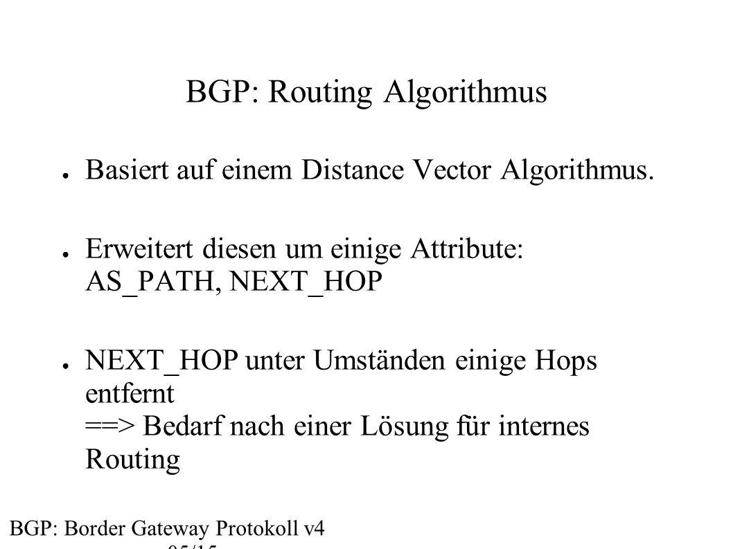 BGP: Routing Algorithmus ● Basiert auf einem Distance Vector Algorithmus. ● Erweitert diesen um einige Attribute: AS_PATH, NEXT_HOP ● NEXT_HOP unter U